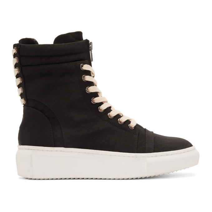 Image of D by D Black Double Lace High-Top Sneakers