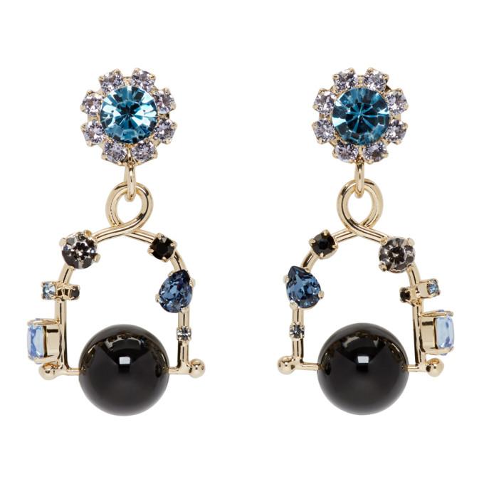 Erdem Gold & Blue Jewel Swing Earrings