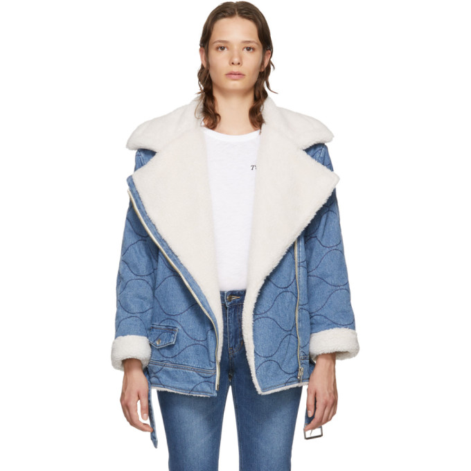 Image of SJYP Blue Denim Rider Sherpa Moto Jacket