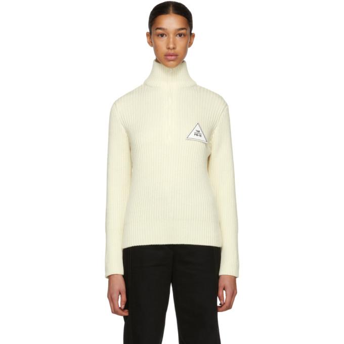 Gosha Rubchinskiy White Zip Collar Knit Sweater, 3 White