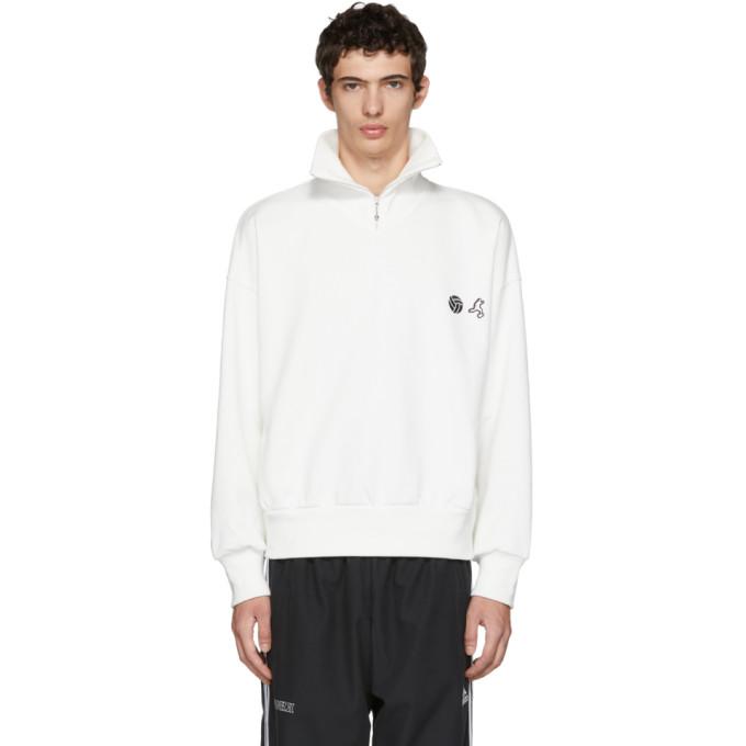 Gosha Rubchinskiy ホワイト ジップ カラー スウェットシャツ