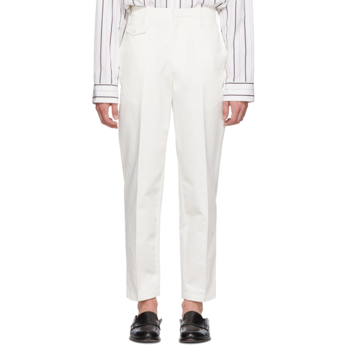 LEMAIRE LEMAIRE WHITE CHINO TROUSERS