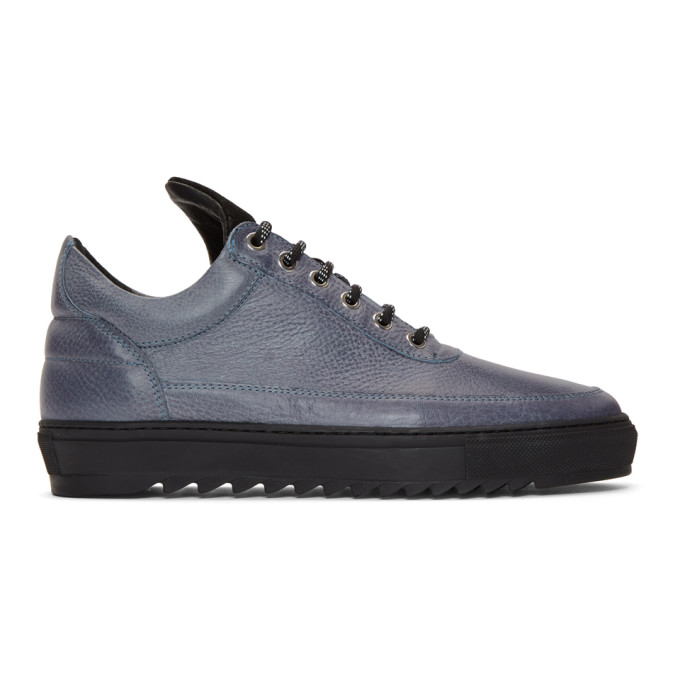 Image of Filling Pieces Blue Thick Ripple Low Top Sneakers