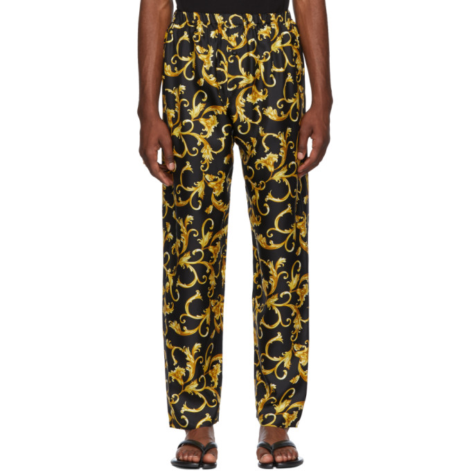 Image of Versace Underwear Black & Gold Printed Pyjama Trousers