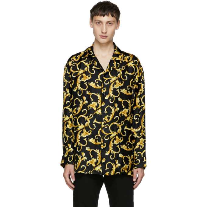 Image of Versace Underwear Black & Gold Printed Pyjama Shirt