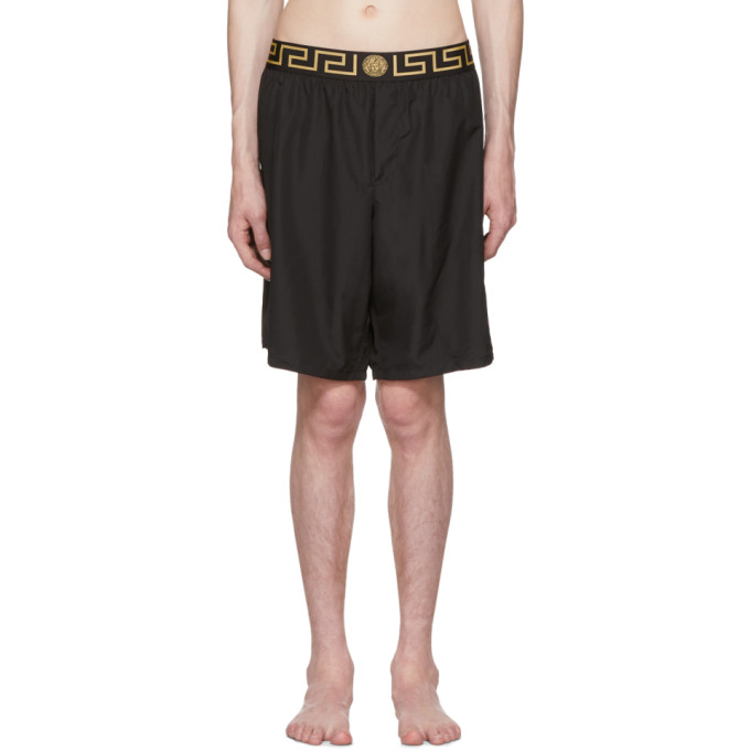 Image of Versace Underwear Black Greek Key Medusa Swim Shorts