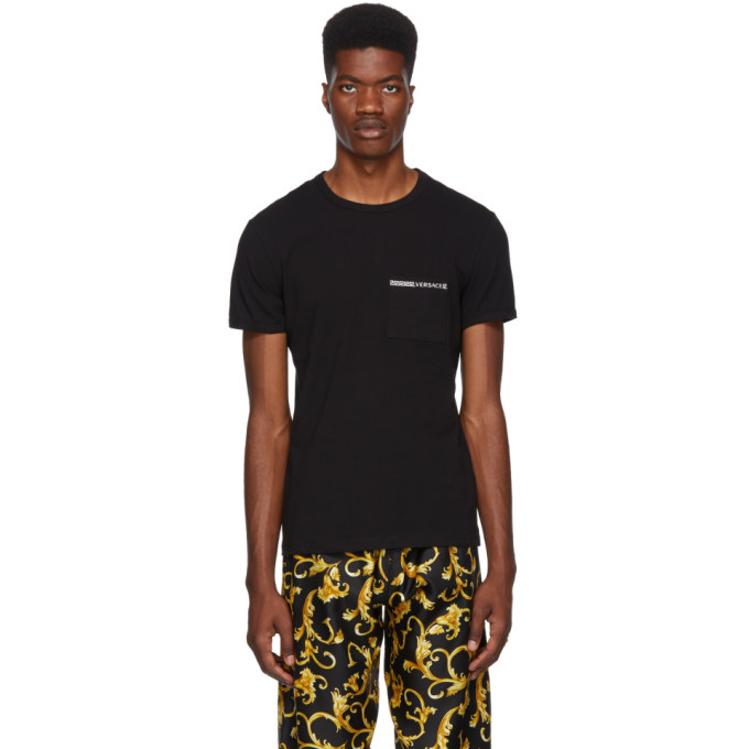 Image of Versace Underwear Black Greek Logo Pocket T-Shirt