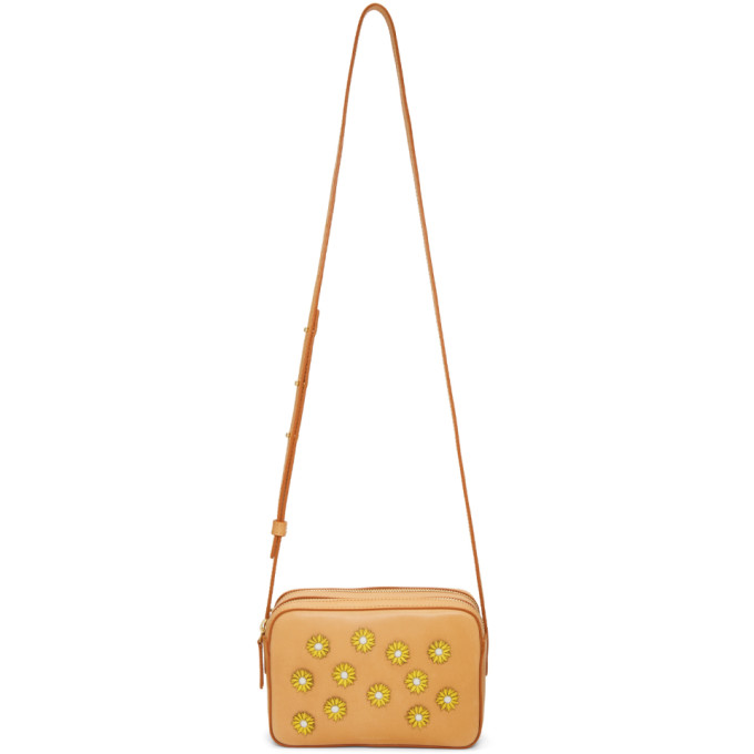 Mansur Gavriel Tan Floral Embellished Double Zip Crossbody Bag