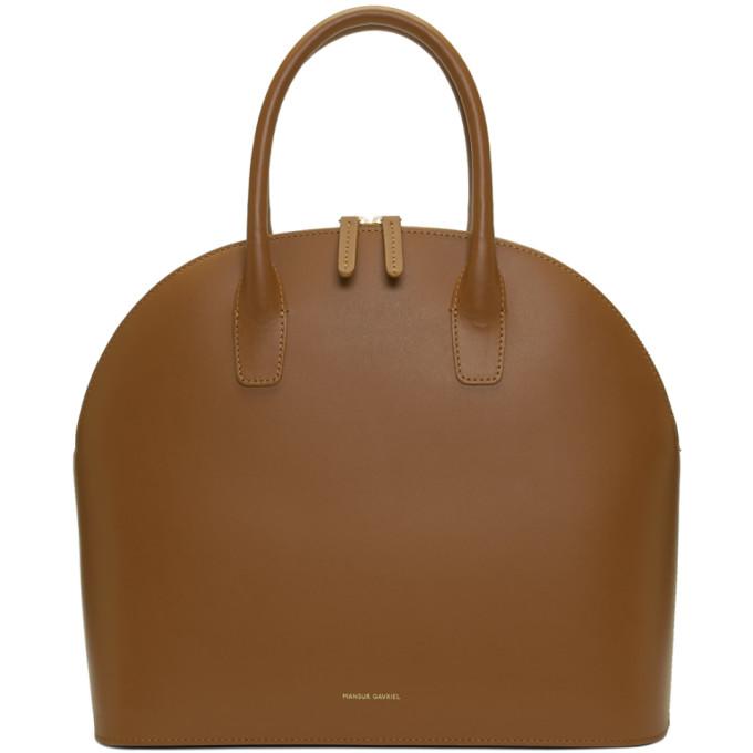 Mansur Gavriel Brown Rounded Top Handle Bag