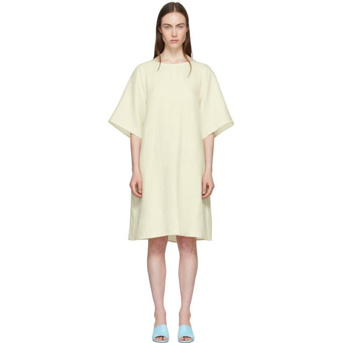 Image of Mansur Gavriel Beige Linen Back Pleat Dress