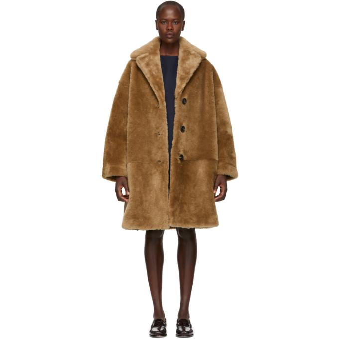 Mansur Gavriel Tan Shearling Classic Coat, Camel