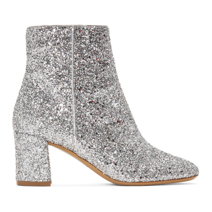 Glitter Ankle Boots In Silver Glitter
