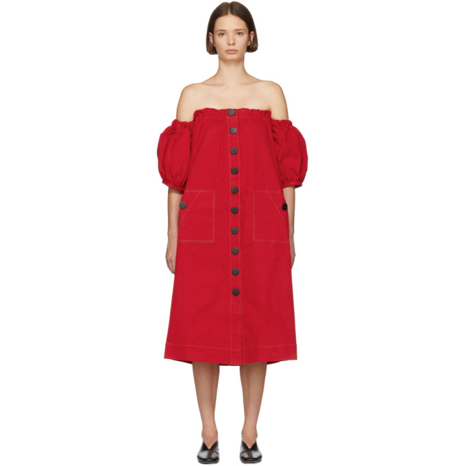 EDIT Edit Red Balloon Sleeve Off-The-Shoulder Dress