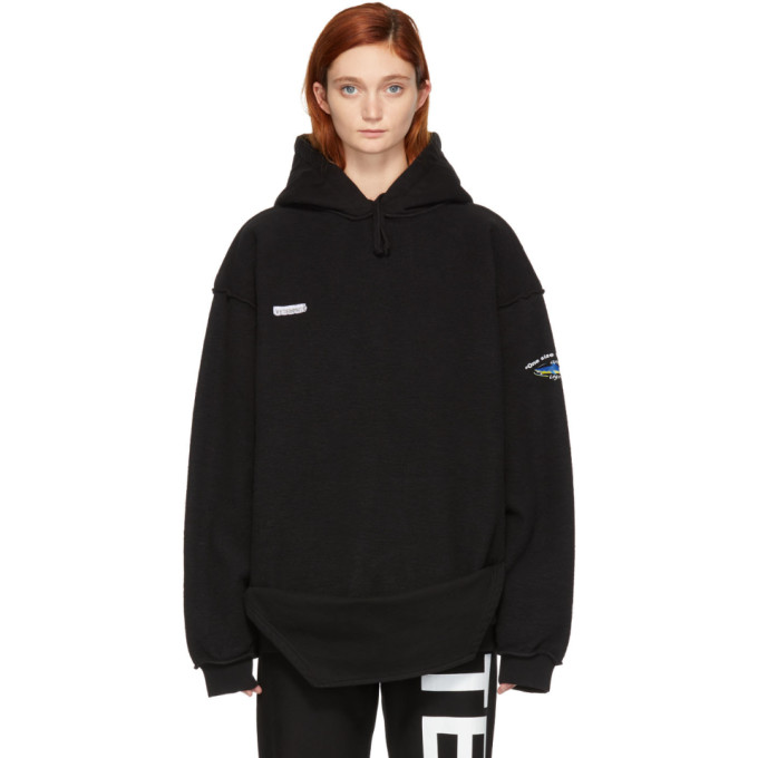 Oversized Cotton-Blend Hoodie in Black