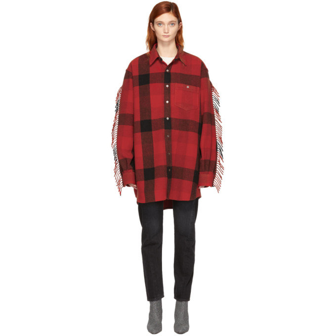 Oversized Fringed Checked Wool-Blend Flannel Shirt in Red Check