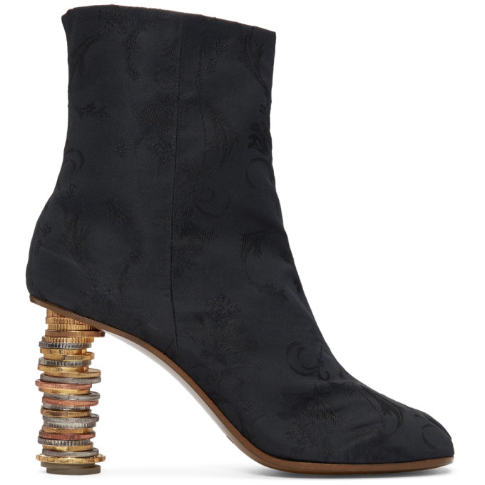 Geisha Split-Toe Coin-Heel Ankle Boots in Black/Black
