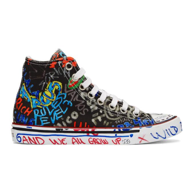 Vetements Black Graffiti High-Top Sneakers