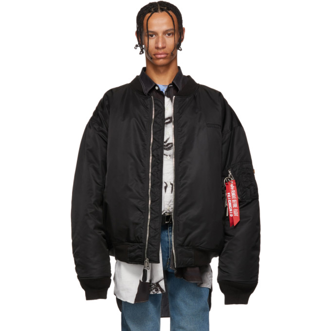 VETEMENTS Black Alpha Industries Edition Oversized Angel Bomber Jacket
