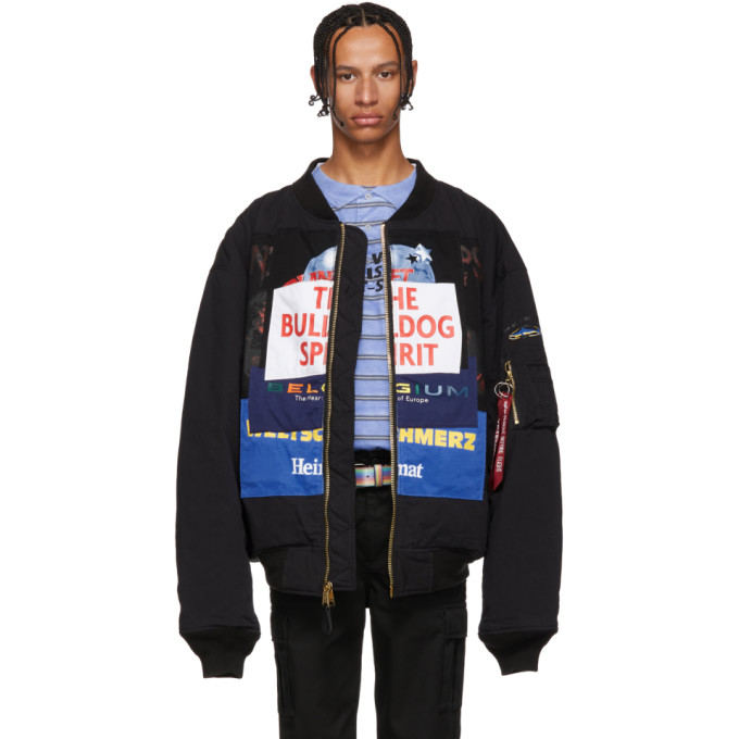 VETEMENTS + Alpha Industries Oversized Appliquéd Cotton-Blend Bomber Jacket in Blk/Bulldog