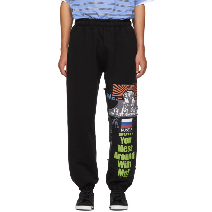 VETEMENTS Black Cotton Russia Sweatpants in Blk/Russia