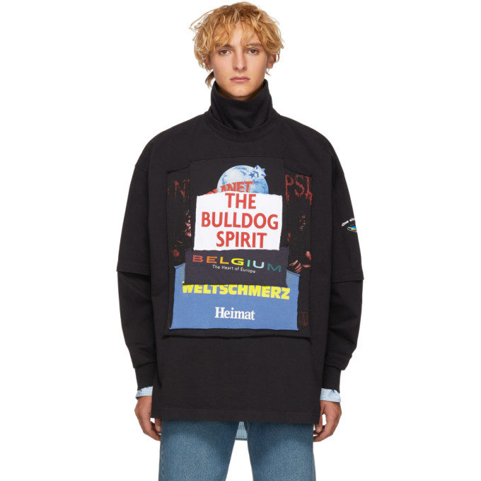 VETEMENTS Oversized Appliquéd Cotton-Jersey Rollneck Sweatshirt in Blk/Bulldog