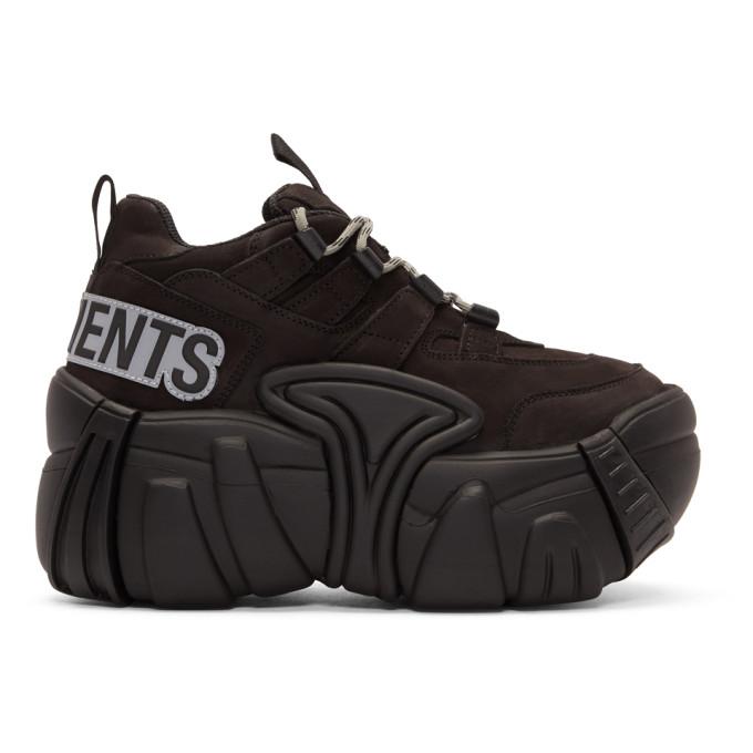 Vetements Black Leather Platform Sneakers