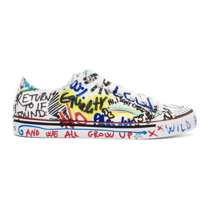 Vetements White Graffiti Canvas Sneakers
