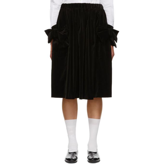 Image of Comme des Garcons Girl Black Velvet Bow Pocket Skirt
