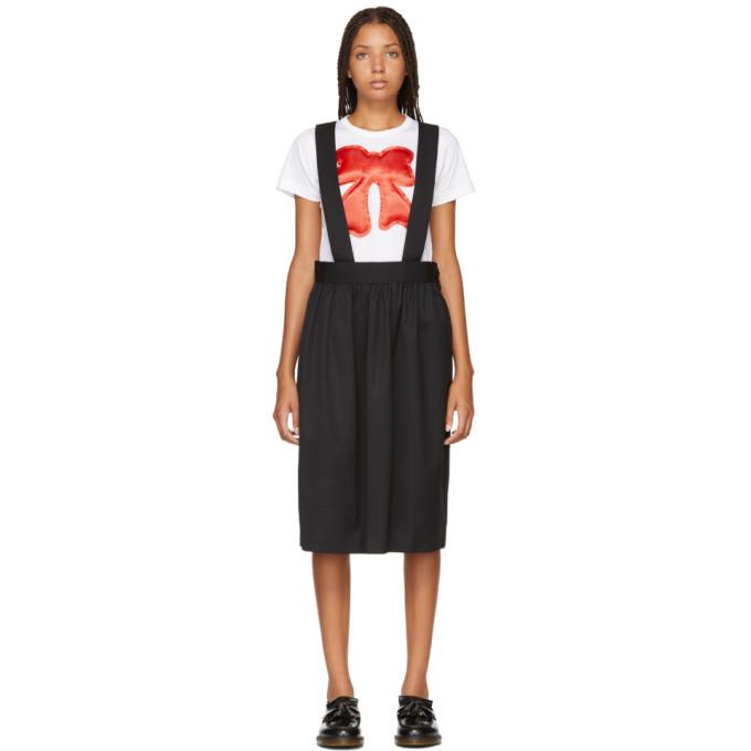Image of Comme des Garcons Girl Black Wool Gabardine Suspender Skirt