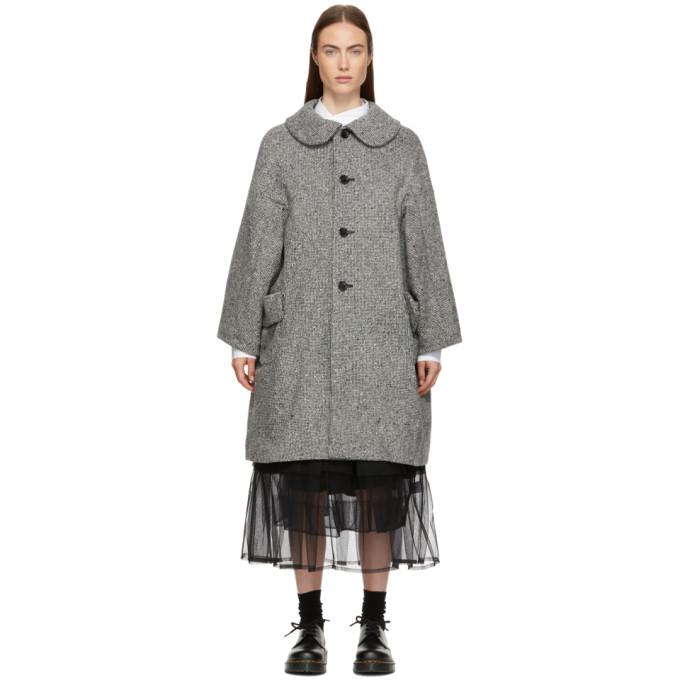 Image of Comme des Garçons Comme des Garçons Grey Tweed Round Collar Coat