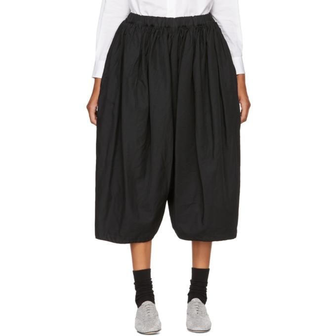 Image of Comme des Garçons Comme des Garçons Black Gathered Waistband Trousers