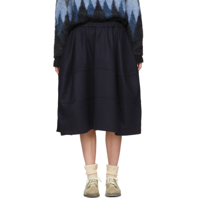 Image of Comme des Garçons Comme des Garçons Navy Wool Three Panel Skirt