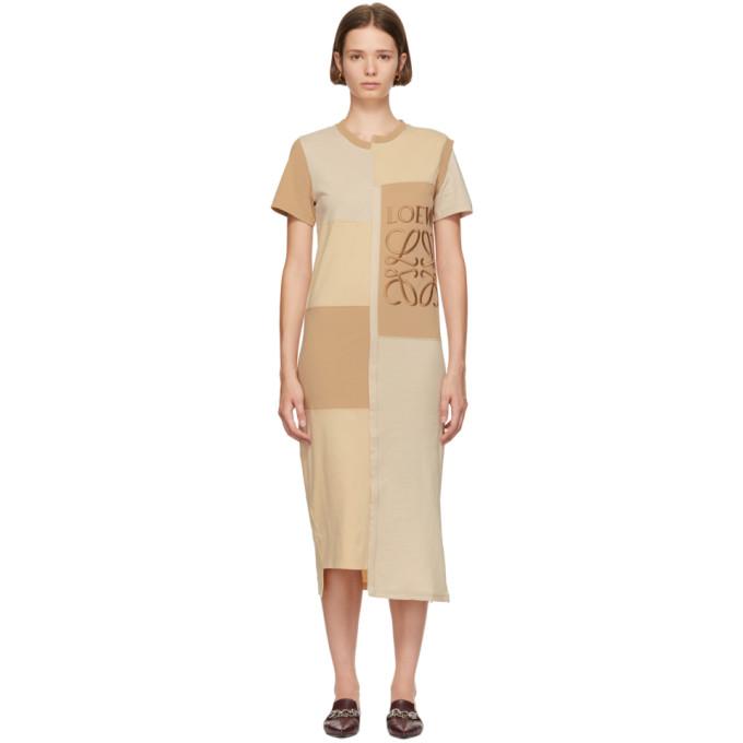 Anagram-Embroidered Patchwork Cotton-Jersey Dress in Neutrals