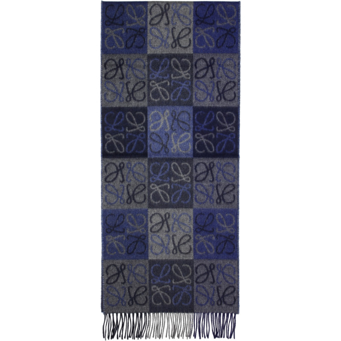 Loewe ブルー & グレー ロゴ アナグラム マフラー
