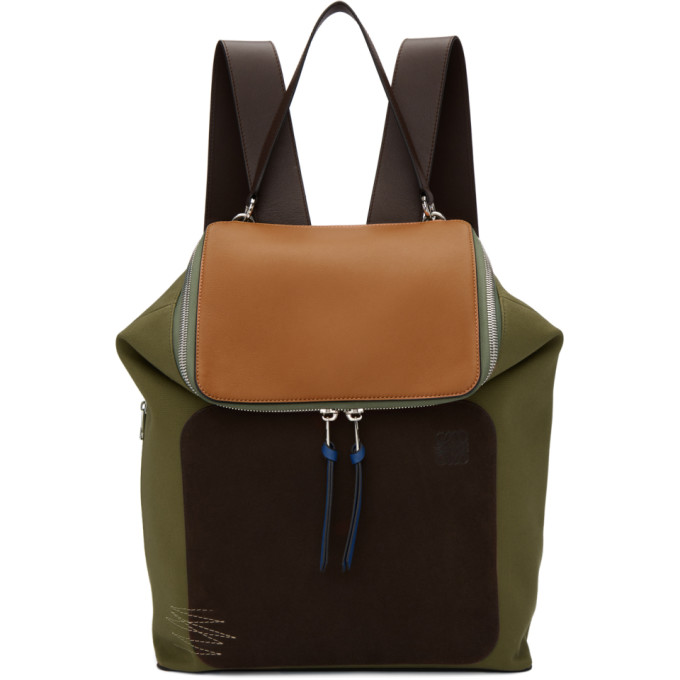 Loewe Khaki & Brown Goya Backpack
