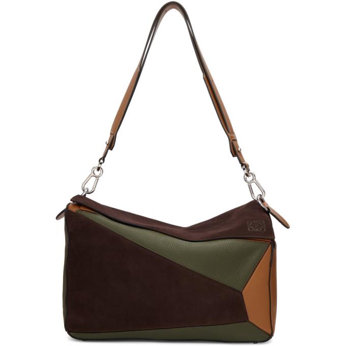 Loewe Brown & Khaki XL Puzzle Messenger Bag