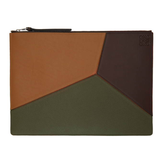 Loewe Khaki & Brown Large Puzzle Pouch