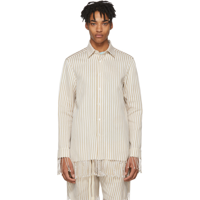 Loewe Beige & White Paula's Ibiza Edition Classic Striped Shirt