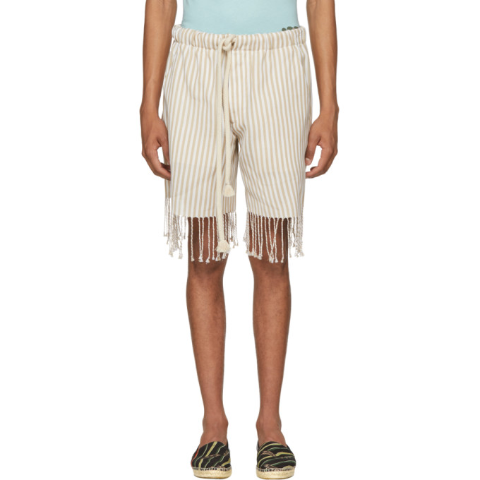 Loewe Beige & White Paula's Ibiza Edition Striped Shorts
