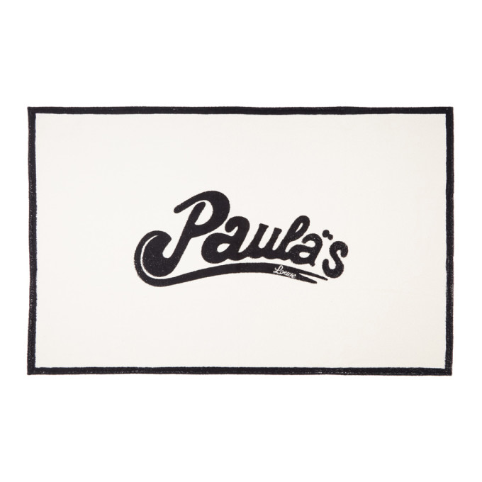 LOEWE WHITE AND BLACK PAULAS IBIZA EDITION LOGO TOWEL
