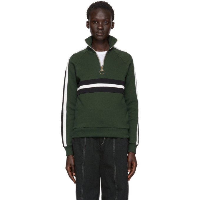 HARMONY Harmony Green Sidonie Zip-Up Sweater in Gr/Blk/Offw