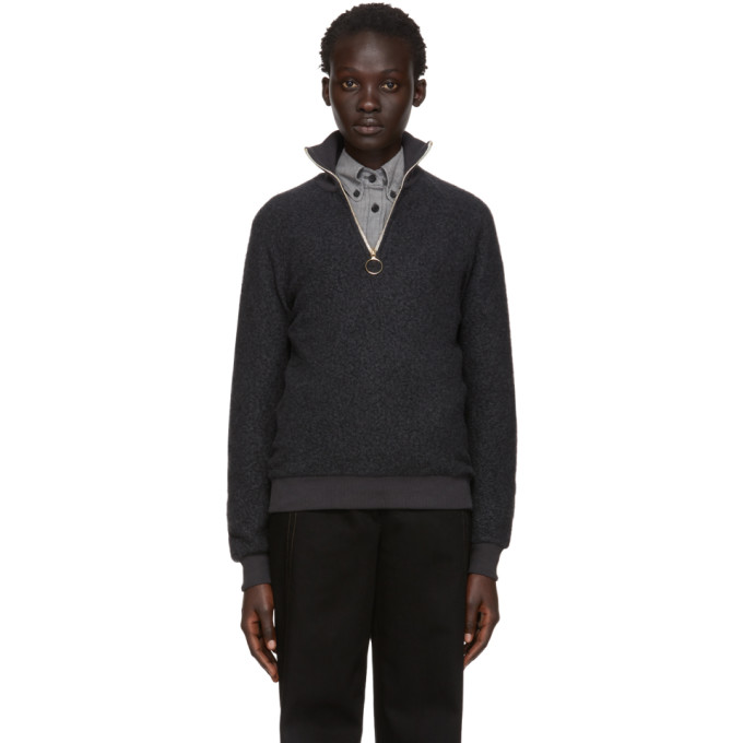 HARMONY Harmony Grey Sansa Zip-Up Sweater in 001 Dark Gr