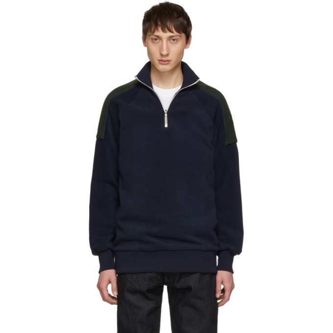 HARMONY Harmony Navy And Green Sylvio Half-Zip Sweater in Navy/Green