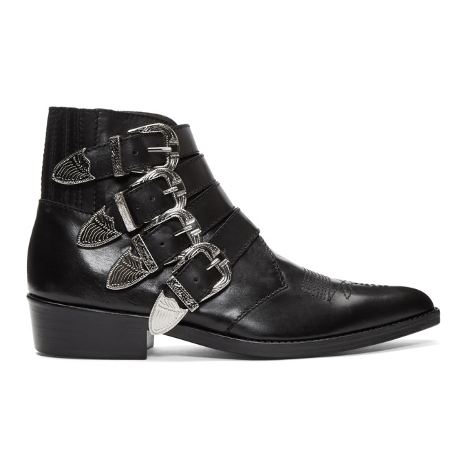 Image of Toga Virilis Black Leather Four-Buckle Boots