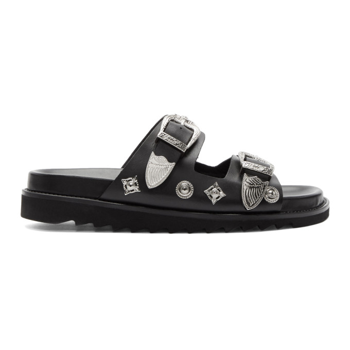 Image of Toga Virilis Black Leather Charm Sandals