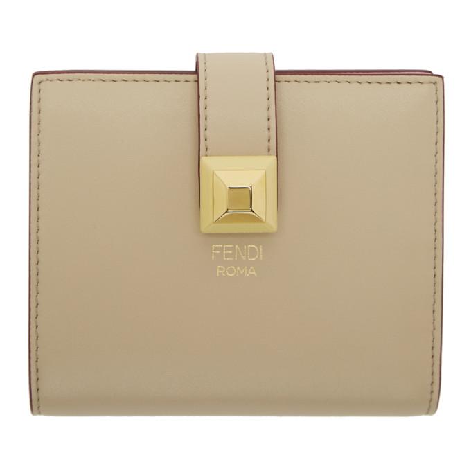 Fendi Beige & Pink Single Stud Compact Wallet