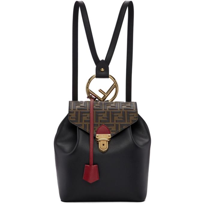 Fendi Black Forever Fendi Flap Backpack e7420c73e57fe