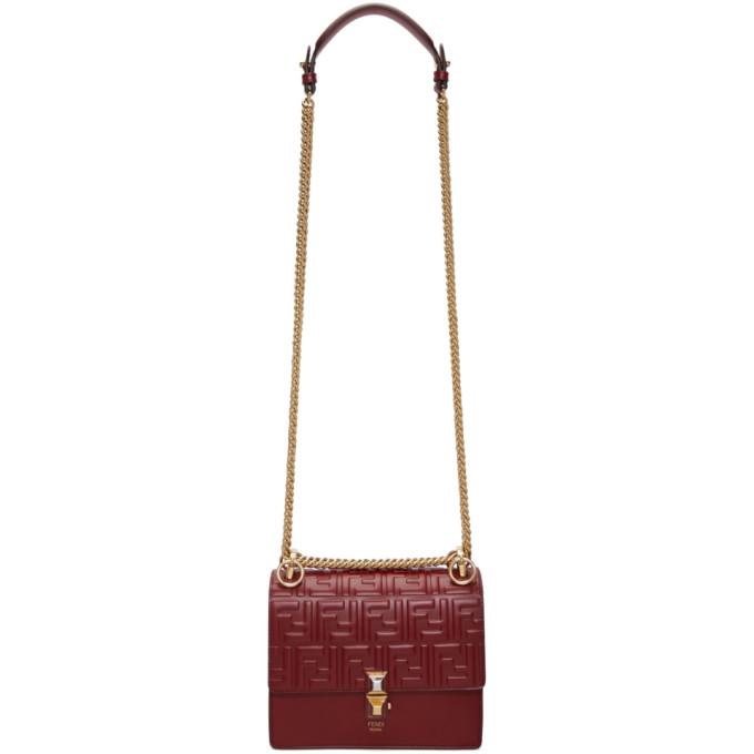 Fendi Red Small Forever Fendi Kan I Flap Bag