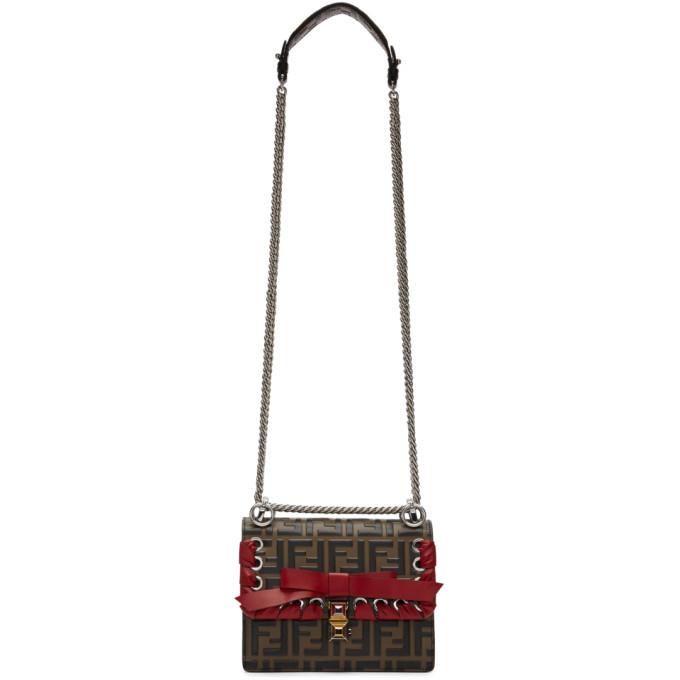 Fendi Brown & Black Small Embossed 'Kan I' Bag