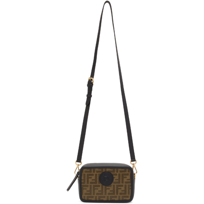 Fendi Black & Brown Small 'Forever Fendi' Camera Bag